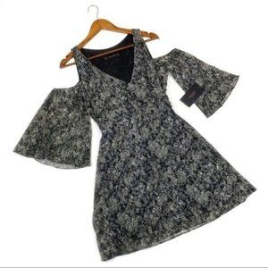 Zara Basic Collection Cold Shoulder mini printed Swing dress with wide sleeves